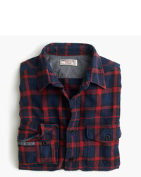 J.Crew Wallace Barnes Flannel Shirt In Navy And Red Plaid
