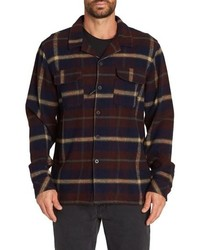 Navy Plaid Flannel Shirt Jacket