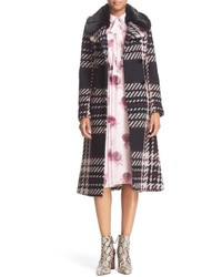 Kate Spade New York Plaid Tweed Coat With Faux Fur Collar