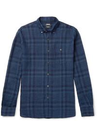 Slim fit button down collar checked linen shirt medium 1245792