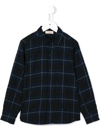 Navy Plaid Long Sleeve Shirt