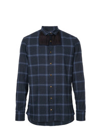 Kolor Pleated Insert Plaid Shirt