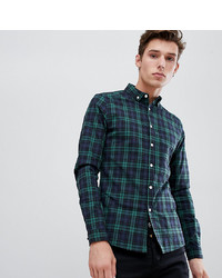ASOS DESIGN Tall Skinny Check Shirt In Green