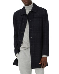 Navy Plaid Overcoat