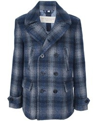 Navy Plaid Pea Coat