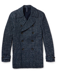 Checked double breasted wool blend peacoat medium 380597