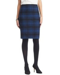Navy Plaid Pencil Skirt