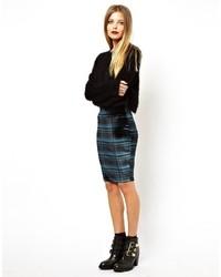 Pencil skirt in velvet check green medium 17399