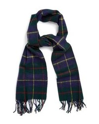 Topman Plaid Scarf Navy Blue 0