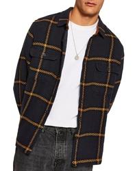 Navy Plaid Shirt Jacket