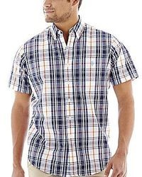 Navy Plaid Short Sleeve Shirt