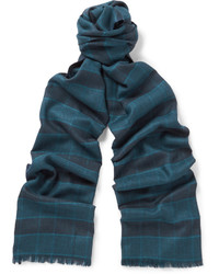 Brioni Plaid Cashmere And Silk Blend Scarf