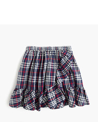 J.Crew Girls Pull On Ruffle Hem Skirt In Navy Red Tartan