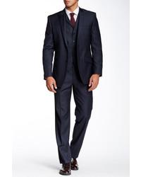 Navy Plaid Three Piece Suit