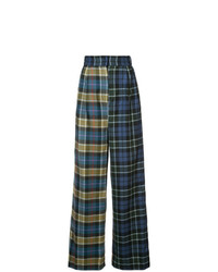 Tibi Contrast Tartan Trousers