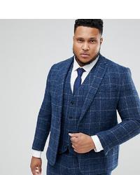 ASOS DESIGN Asos Plus Slim Suit Jacket In 100% Wool Harris Tweed In Blue Check
