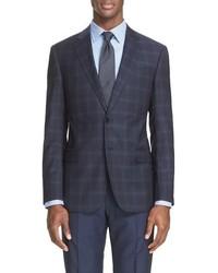 Armani Collezioni G Line Trim Fit Plaid Wool Sport Coat