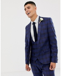 Twisted Tailor Super Skinny Suit Jacket With Blue Tartan Wool
