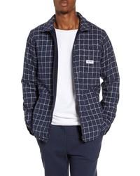 Navy Plaid Wool Bomber Jacket