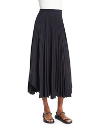 Helmut Lang Pleated Chiffon High Waist Midi Skirt Navy