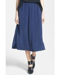 Leith Side Slit Woven Midi Skirt Navy Peacoat Medium