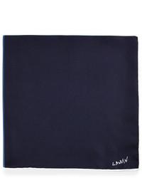 Lanvin Four Color Reversible Pocket Square Navy