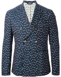 Navy Polka Dot Double Breasted Blazer