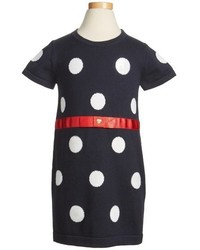Armani Junior Girls Knit Polka Dot Dress