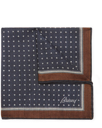 Brioni Printed Wool And Silk Blend Herringbone Pocket Square