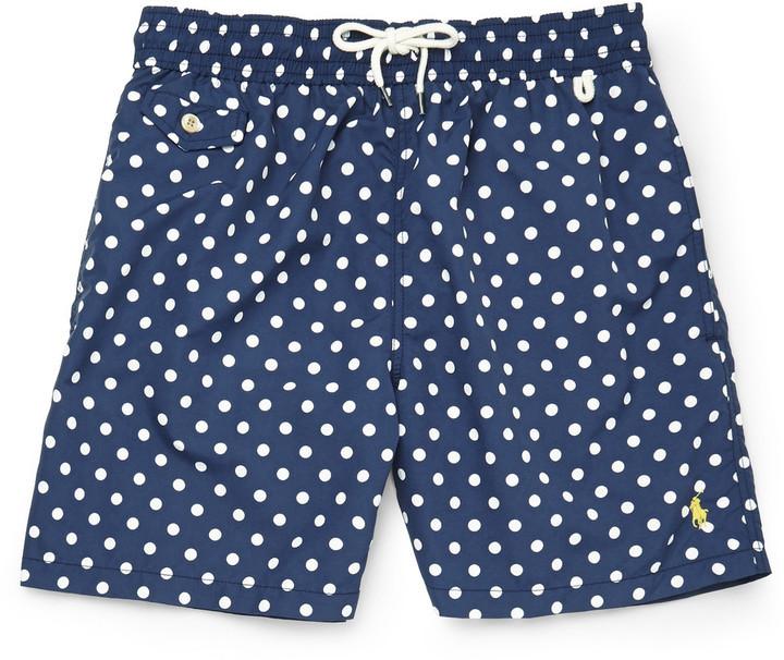 Men\u0027s Fashion \u203a Shorts \u203a Navy Polka Dot Shorts Polo Ralph Lauren Mid Length  Polka Dot Swim Shorts ...