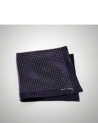 Navy Polka Dot Silk Pocket Square