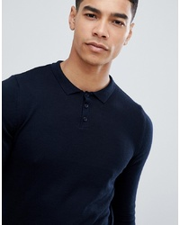 ASOS DESIGN Asos Knitted Muscle Polo In Dark Navy