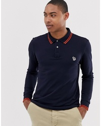 PS Paul Smith Long Sleeve Slim Fit Zebra Tipped Polo In Navy