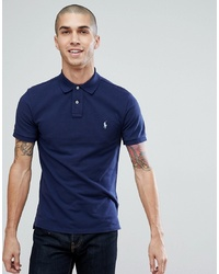 Polo Ralph Lauren Pique Polo Slim Fit In Washed Navy