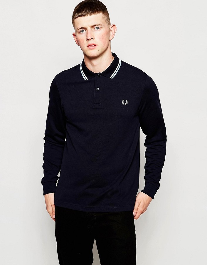 aba6b934 ... Fred Perry Polo Shirt With Twin Tip Long Sleeves In Slim Fit Navy ...