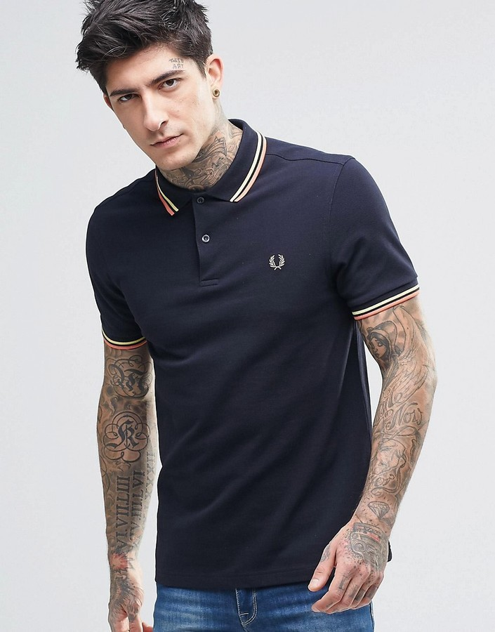 Fred Perry Polo Shirt With Twin Tip Slim