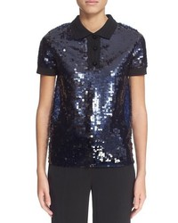 Carven Sequined Polo Top