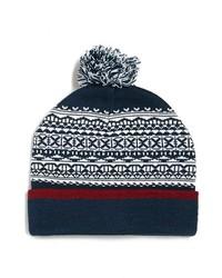 Topman Pattern Pom Knit Beanie