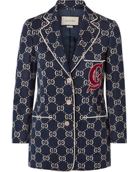 Gucci Appliqud Cotton Jacquard Blazer