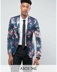 Tall super skinny suit jacket in navy tropical floral print in sateen medium 3734607