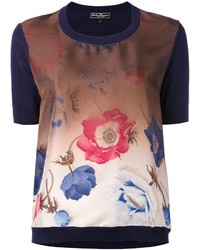 Salvatore Ferragamo Gradient Poppy Print Top