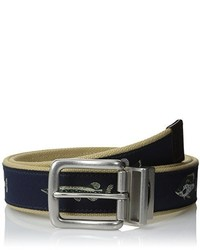 Navy Print Canvas Belt