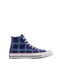 Navy Print Canvas High Top Sneakers