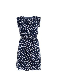 Navy Print Casual Dress