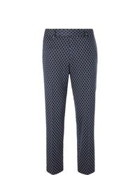 Gucci Navy Caspian Cropped Logo Jacquard Cotton Trousers