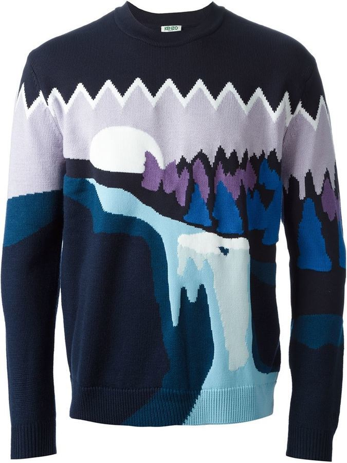 3e790ef3f Kenzo Landscape Intarsia Sweater, £574 | farfetch.com | Lookastic UK