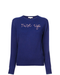 Lingua Franca Rise Up Embroidered Sweater