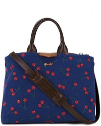 Navy Print Leather Tote Bag