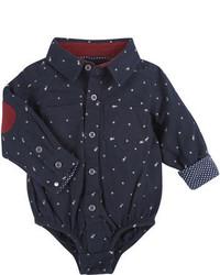 Navy Print Long Sleeve Shirt
