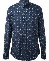 Navy Print Long Sleeve Shirt